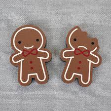 kawaii gingerbread man wooden brooches