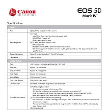 Iv Compatibility Chart Pdf Canon Eos 5d Mark Iv Dslr 4k Camera