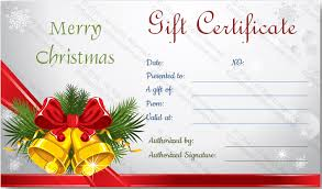christmas gift card templates christmas bells gift certificate template