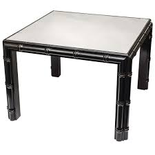 hollywood regency black faux bamboo coffee table for