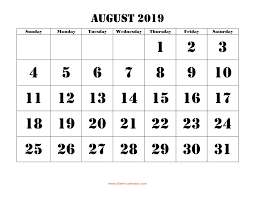 August Calandar Free Download Printable August 2019 Calendar Large Font
