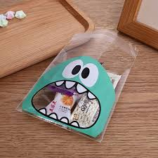 <b>100pcs lot</b> Small Size <b>Cute</b> Little Monster Candy Cookie Bags Self ...