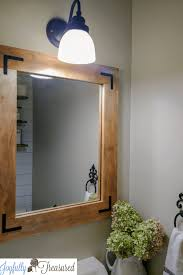 diy wood frame mirror farmhouse