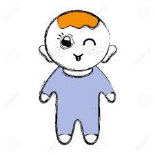 髪型とオーバー オール パジャマ服目ウィンクとかわいい幼児男の子の漫画