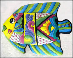 hand painted metal tropical fish wall hanging outdoor decor tropical decoration garden art