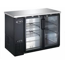 commercial back bar refrigerator with glass
