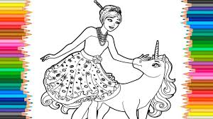 Barbie Princess And Unicorn Coloring Pages L Coloring Markers Videos