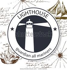 Lighthouse Symbol On A Chart Lighthouse Logo On Background Vintage Marine Stock Vector
