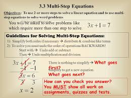 3 3 multi step equations objectives to use 2 or more steps to solve a