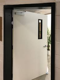fire rated doors single fire door with view panel door open