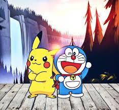 Cute characters from cartoon cutest Pikachu and Doremon
