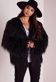 mongolian faux fur coat black