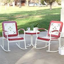 retro patio chairs cherry red 3 metal rocker rocking chair set vintage wicker furniture sets