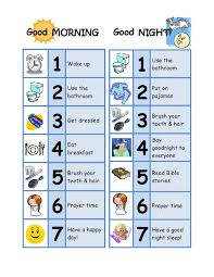 Morning Routine Chart For 5 Year Old Good Morning Good Night Chore Chart Designed For A 3 Year