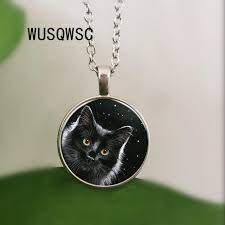 night sky under black cat pendant necklace antique 3 color chain glass necklace vintage jewelry gift for women men uk 2019 from yanzhoucheng