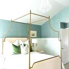 Blue Canopy Bed Curtains Drapes Gold Sisal Bedroom Wallpaper With ...