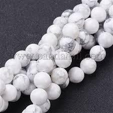 <b>Gemstone Beads</b> Strands, <b>Natural</b> Howlite Round <b>Beads</b>, <b>White</b> ...
