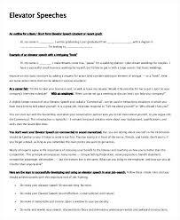 Sample Elevator Speech Example Template Layout Altpaper Co