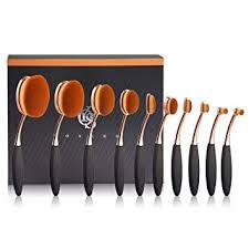 amazon yoseng makeup brushes set 10pcs professional oval toothbrush foundation contour powder blush conceler eyeliner blending brush new fashionable