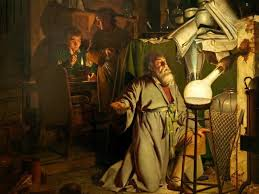 "traces of the alchemist who discovered the philosopher s stone in  joseph wright ""the alchymist in search of the philosopher s stone discovers phosphorus and prays for the successful conclusion of his operation"