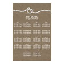 Rustic Burlap Knot 18 Tables Wedding Seating Chart