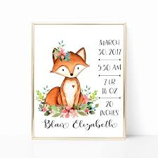 fox birth stats wall art floral fox nursery art personalized baby on etsy personalized baby wall art with birth stats birth stats wall art floral nursery art personalized