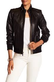 Michael Kors Coat Nordstrom Rack MICHAEL Michael Kors Genuine Leather Bomber Jacket Michael Kors 20