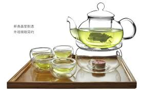 pre order glass tea pot set warmer 6 double wall cup