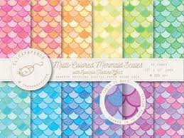 Mermaid Pattern Gorgeous Mermaid Digital Paper MultiColored Pattern Mix With Speckle Texture