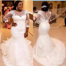 plus size bridal 2017 plus size wedding gowns mermaid with sleeves appliques lace