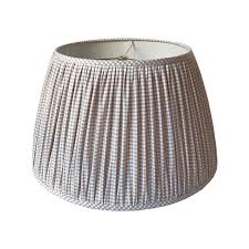 check lamp shades gingham pleated shade gathered beige 2
