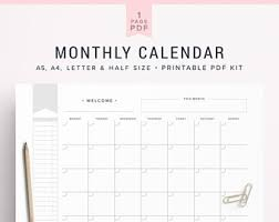 mothly calendar monthly calendar etsy