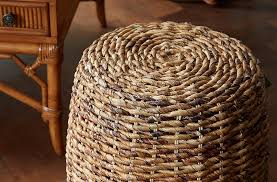 This petite wicker side table is made of abaca, a natural fiber so strong it