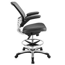 com modway edge drafting chair in gray vinyl reception desk chair tall office chair for adjule standing desks flip up arm drafting table