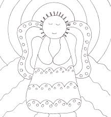 folk art coloring pages. Brilliant Coloring Primitive Angel Coloring Page To Folk Art Pages U
