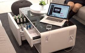 sobro is a fridge coffee table and charging station rolled into one