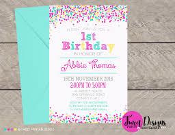 First Birthday Invitation Confetti Invitation Girl 1st Birthday Invitation Confetti Invitations