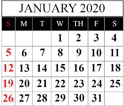 January Calendar 2020 Printable Template Pdf Word Excel
