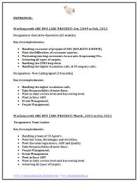 Resume For Team Leader In Bpo Bpo Call Centre Resume Sample 2 Job Resume Format Job