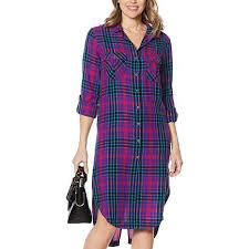 Hsn Size Chart New Billy T Plaid Print Button Down Shirt Dress