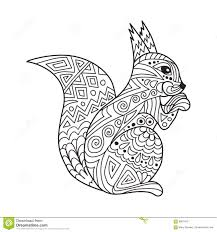 Zentangle The Baikal Squirrel For Adult Anti Stress Coloring Stock