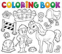 Coloring Book Jockey And Horse Thematics Stock Vector Clairev