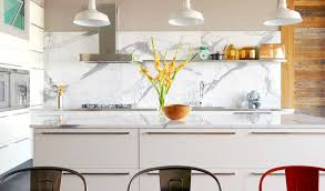 modern kitchen marble backsplash.  Modern Kitchen With White Marble Slab Backsplash An Island Reclaimed Wood And  Integrated Stainless Steel In Modern Kitchen Marble Backsplash