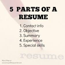 5 parts of a resume with word wise at nonprofit copywriter parts of a resume