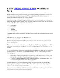 5 Best Private Student Loans Available In 2018 Pages 1 5 Text
