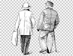 Drawing Old Age Sketch Png Clipart Business Man Cartoon Couple