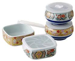 This is a Japanese Arita-yaki (Arita ware) food container set (microwave  oven is OK!)
