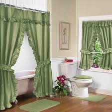 Green Shower Curtain With Valance And Decorative Toilet Seat Covers Plus  Small Square Rugs