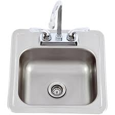 outdoor kitchen sink. lion 15 x outdoor rated stainless steel sink with hot/cold faucet kitchen o