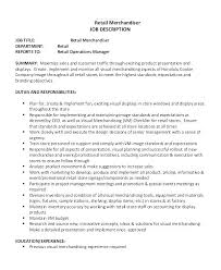 Visual Merchandising Job Description Operations Manager ...
